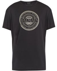 Balmain   Circular Logo-print Cotton T-shirt   Lyst