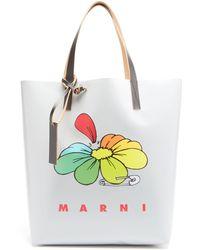 Marni フラワー Pvcトートバッグ - マルチカラー