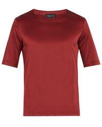 Meng Crew-neck Silk-satin Pajama Top - Red