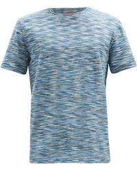 Missoni ファジーボーダー コットンtシャツ - ブルー
