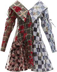 Chopova Lowena Exaggerated-collar Flocked-taffeta Mini Dress - Multicolour