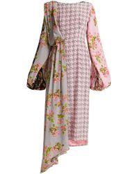 Natasha Zinko - Floral Panel Houndstooth Silk Midi Dress - Lyst