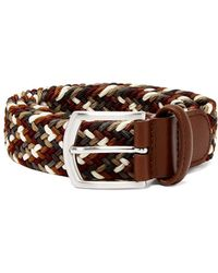 Andersons Multicoloured Leather And Stretch Viscose Belt - Brown