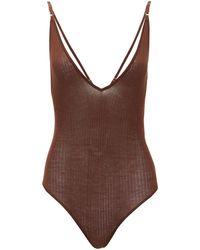 Dodo Bar Or Liam Rib-knitted Bodysuit - Brown
