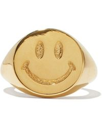 Joolz by Martha Calvo Be Happy 14kt-gold Plated Signet Ring - Metallic