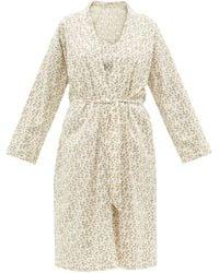 Domi Honey Floral-print Cotton-poplin Robe - Natural