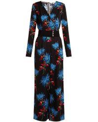 Diane von Furstenberg Floral print jumpsuit - Bleu