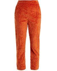Isa Arfen - Slim-leg Crushed-velvet Cotton-blend Trousers - Lyst