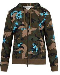 Valentino - X Zandra Rhodes Zip-up Cotton-blend Sweatshirt - Lyst
