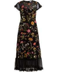 RED Valentino Floral-embroidered Cotton-mesh Dress - Black