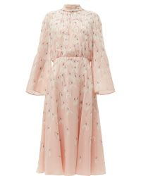 Valentino Snowdrop Print Silk Midi Dress