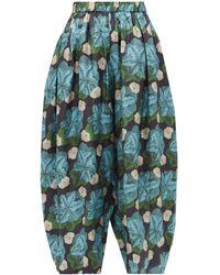 Biyan Floral-print Silk-twill Trousers - Blue