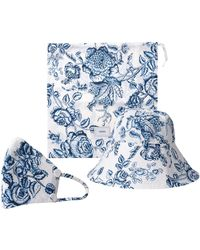Erdem Floral-print Bucket Hat And Face Covering - Blue