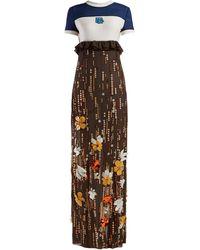 Prada Sequinned Silk-chiffon Gown - Brown