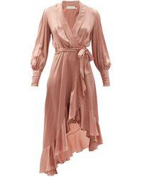 Zimmermann ビショップスリーブ シルク ラップドレス - ピンク