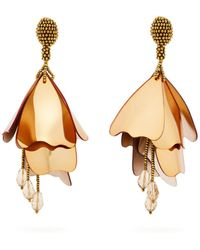 Oscar de la Renta - Impatiens Floral Drop Clip-on Earrings - Lyst