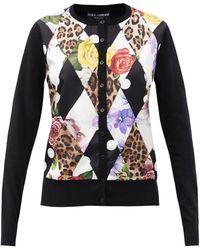 Dolce & Gabbana モンタージュプリント カシミアシルク カーディガン - ブラック