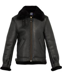 Schott Nyc - Shearling Leather Jacket - Lyst