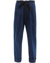 Chimala Paperbag-waist Cropped Jeans - Blue