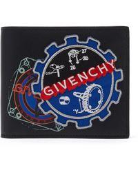 Givenchy ロゴ レザーバイフォールドウォレット - ブルー