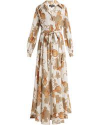Edward Crutchley - Tie Waist Leaf Print Woven Dress - Lyst