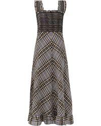Ganni Smocked Checked Cotton-blend Seersucker Maxi Dress - Gray