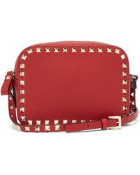 Valentino - Rockstud Camera Leather Cross Body Bag - Lyst