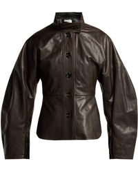 Lemaire - Single Breasted Leather Jacket - Lyst