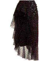 Rodarte Asymmetric Floral Appliqué Tulle Skirt - Black