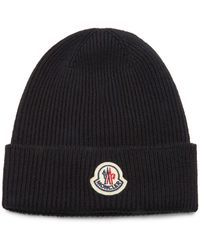 Moncler Logo-patch Ribbed Wool Beanie Hat - Black