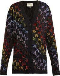Gucci - Gg Crystal Embellished Wool Cardigan - Lyst