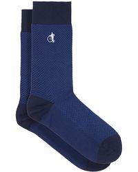 London Sock Company ボンドストリート ヘリンボーンコットンブレンドソックス - ブルー