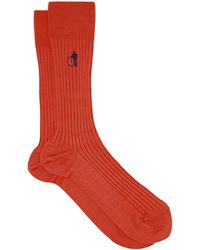 London Sock Company Curious Orange Ribbed Cotton-blend Socks