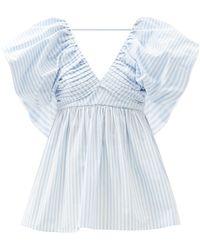 Carolina Herrera Puff-sleeve Pleated V-neck Stripe Cotton-blend Top - Blue