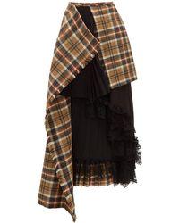 Preen By Thornton Bregazzi Amaya Asymmetric Wool Tartan Skirt - Brown