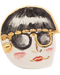 Sonia Boyajian Funny Face Ceramic Brooch - Multicolour