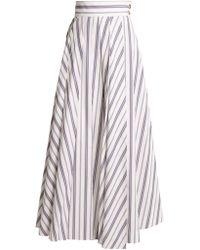 Awake - Striped Cotton-poplin Maxi Skirt - Lyst