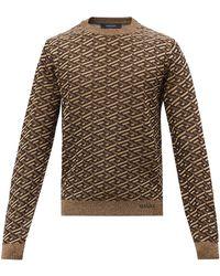 Versace ジオメトリックジャカードセーター - ブラウン