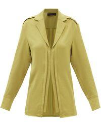 Proenza Schouler Point-collar Hammered-satin Shirt - Yellow