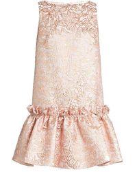 OSMAN - Semiha Ruffled-hem Leaf-brocade Dress - Lyst
