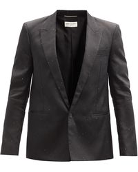 Saint Laurent スペックルデュピオン シングルスーツジャケット - ブラック