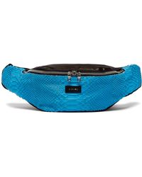 Amiri Flannel Snake Effect Leather Belt Bag - Blue