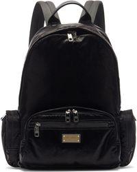 Dolce & Gabbana ロゴプレート ナイロンバックパック - ブラック