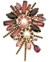 Erdem Crystal Bloom Brooch - Purple