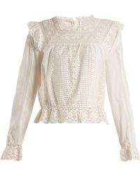 Zimmermann - Laelia Embroidered-lace Top - Lyst