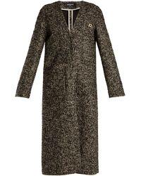 Rochas - V-neck Wool-blend Bouclé Coat - Lyst