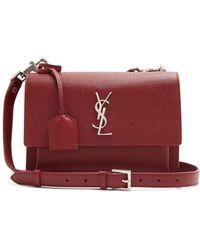 ca474616fd94 Lyst - Saint Laurent Sunset Medium Leather Shoulder Bag in Gray
