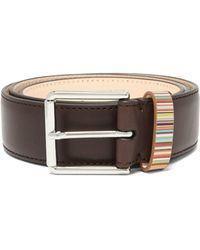 Paul Smith Signature Striped-loop Leather Belt - Brown