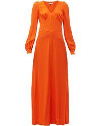 Bella Freud Nova Balloon-sleeve Crepe Dress - Orange