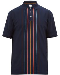 Paul Smith Artist-stripe Cotton-piqué Polo Shirt - Blue